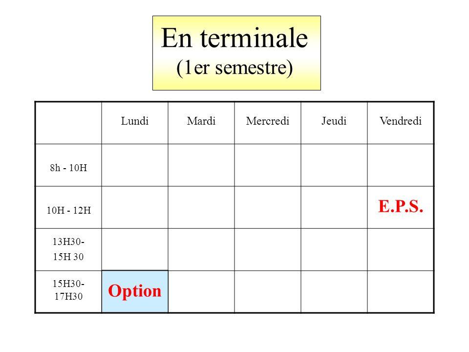 En terminale (1er semestre) LundiMardiMercrediJeudiVendredi 8h - 10H 10H - 12H E.P.S.