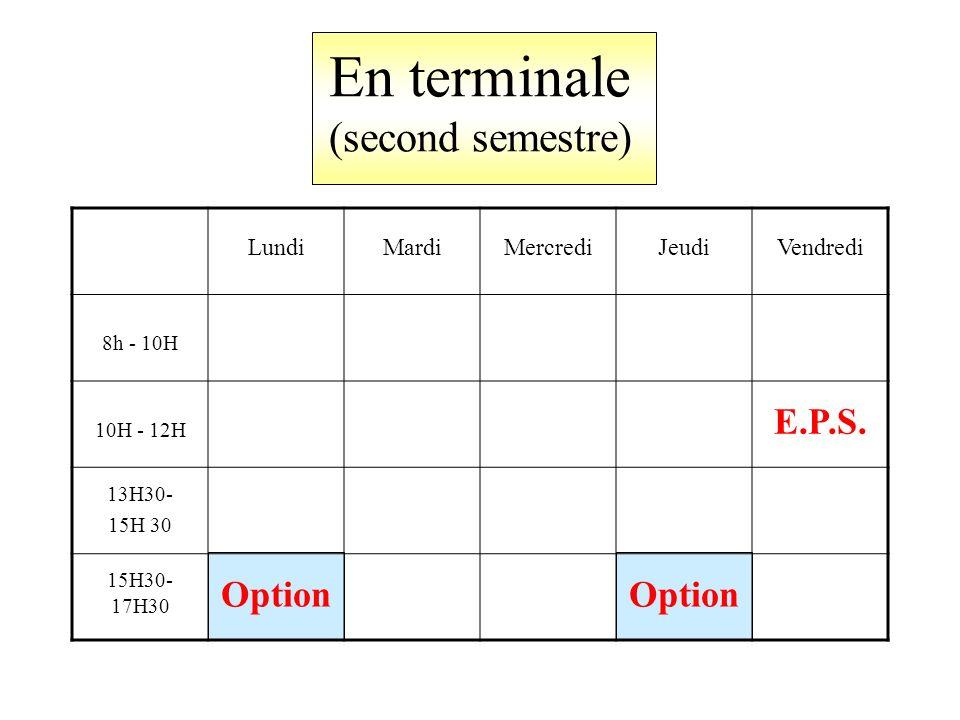 En terminale (second semestre) LundiMardiMercrediJeudiVendredi 8h - 10H 10H - 12H E.P.S.