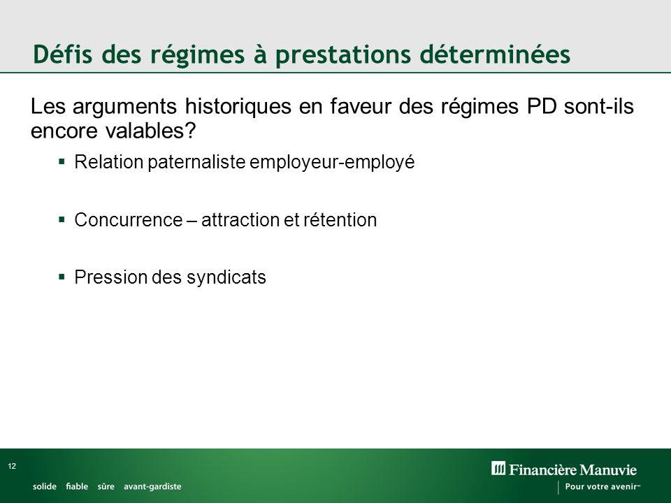 12 Défis des régimes à prestations déterminées Les arguments historiques en faveur des régimes PD sont-ils encore valables? Relation paternaliste empl