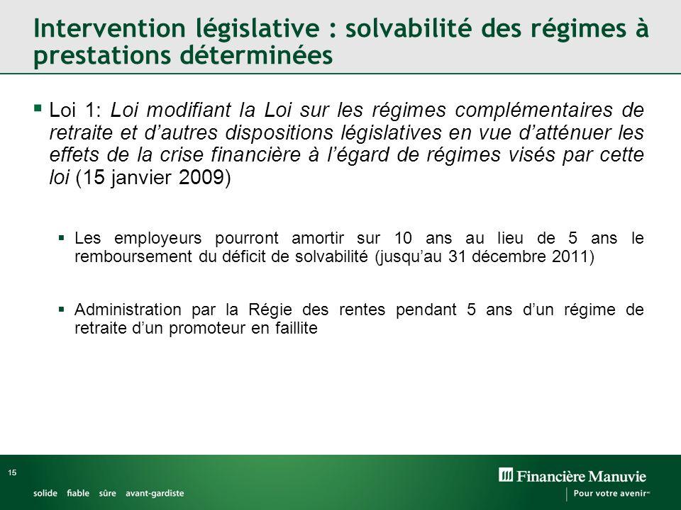 15 Intervention législative : solvabilité des régimes à prestations déterminées Loi 1: Loi modifiant la Loi sur les régimes complémentaires de retrait