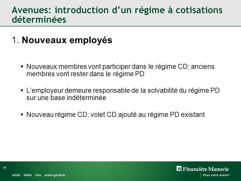 19 1. Nouveaux employés Nouveaux membres vont participer dans le régime CD; anciens membres vont rester dans le régime PD Lemployeur demeure responsab