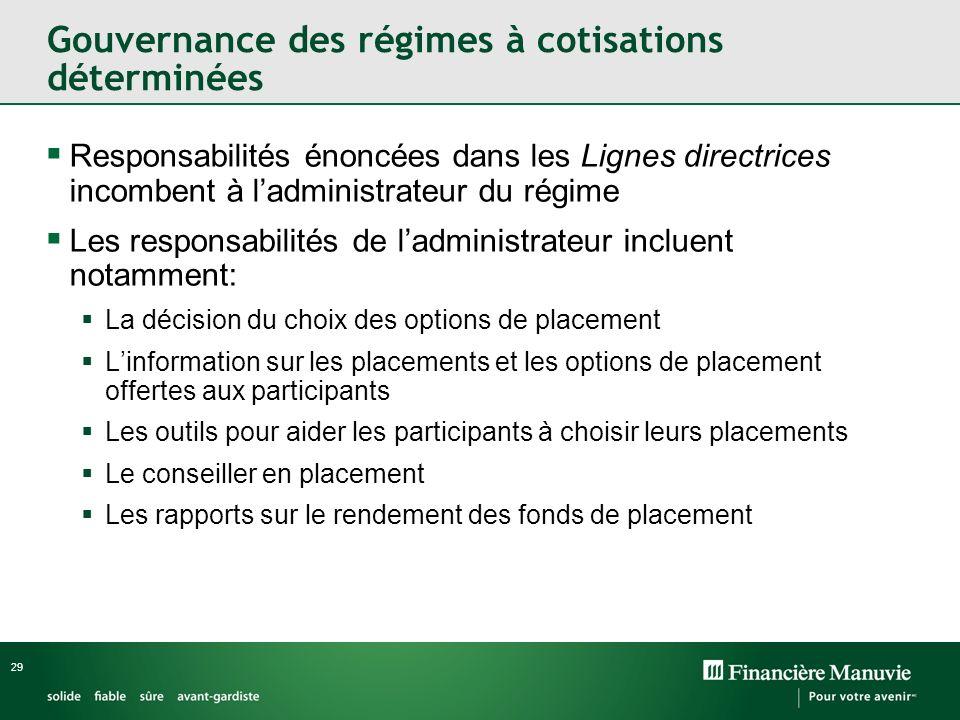29 Responsabilités énoncées dans les Lignes directrices incombent à ladministrateur du régime Les responsabilités de ladministrateur incluent notammen