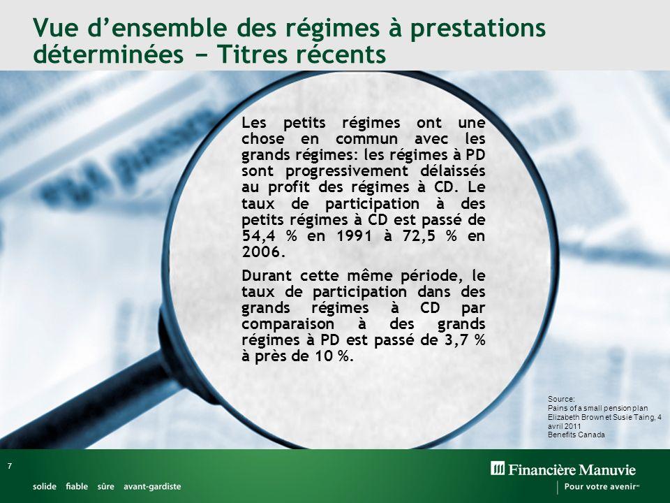 8 Perspectives mondiales PD versus CD Canada ÉU Royaume-Uni Monde 2000 2011 Source: Global Pension Asset Study 2011, Towers Watson Y a-t-il vraiment une transition de PD à CD au Canada?