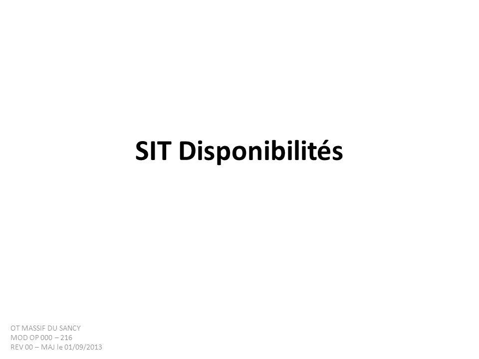 SIT Disponibilités OT MASSIF DU SANCY MOD OP 000 – 216 REV 00 – MAJ le 01/09/2013