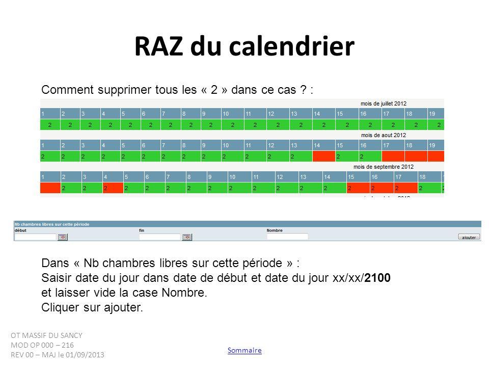 RAZ du calendrier Comment supprimer tous les « 2 » dans ce cas ? : Dans « Nb chambres libres sur cette période » : Saisir date du jour dans date de dé