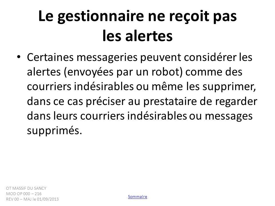 Le gestionnaire ne reçoit pas les alertes Certaines messageries peuvent considérer les alertes (envoyées par un robot) comme des courriers indésirable