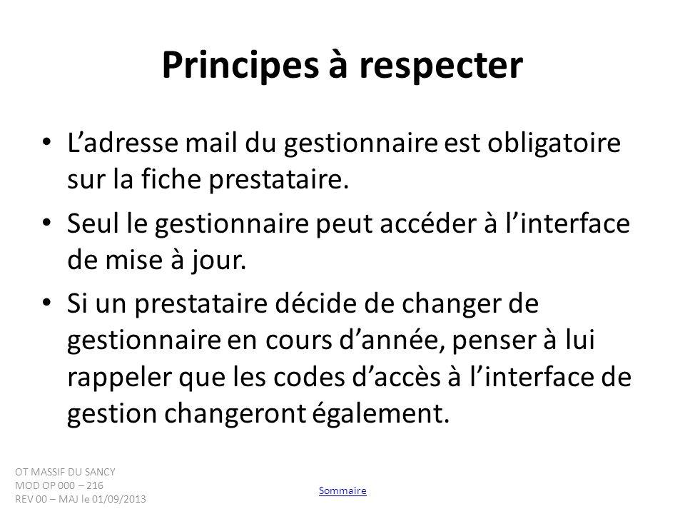 Principes à respecter Ladresse mail du gestionnaire est obligatoire sur la fiche prestataire. Seul le gestionnaire peut accéder à linterface de mise à