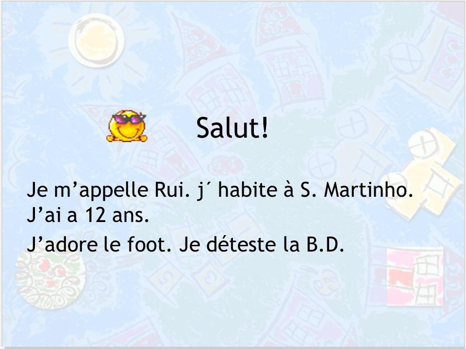 Je mappelle Rui. j´ habite à S. Martinho. Jai a 12 ans. Jadore le foot. Je déteste la B.D. Salut!