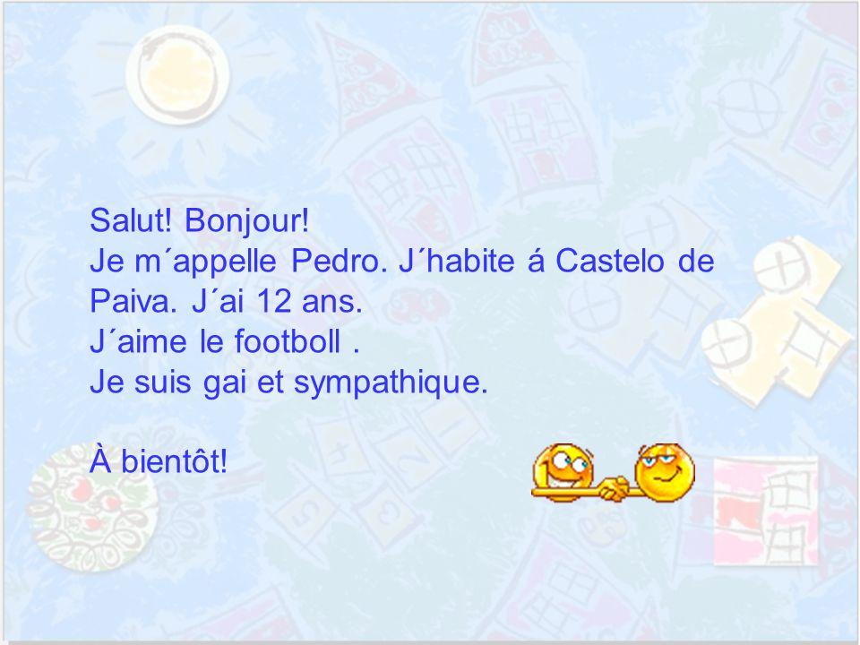 Bonjour.Je m´appelle Susana et j´ai 12 ans. J´ habite à Nogueira, à Castelo de Paiva.