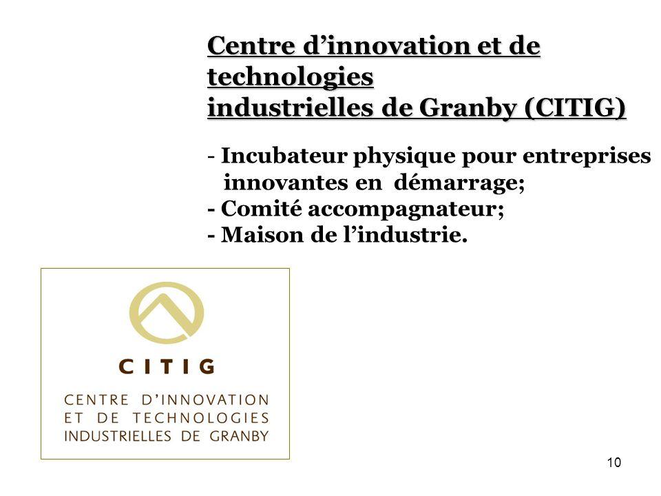 Centre dinnovation et de technologies industrielles de Granby (CITIG) - Incubateur physique pour entreprises innovantes en démarrage; - Comité accompagnateur; - Maison de lindustrie.