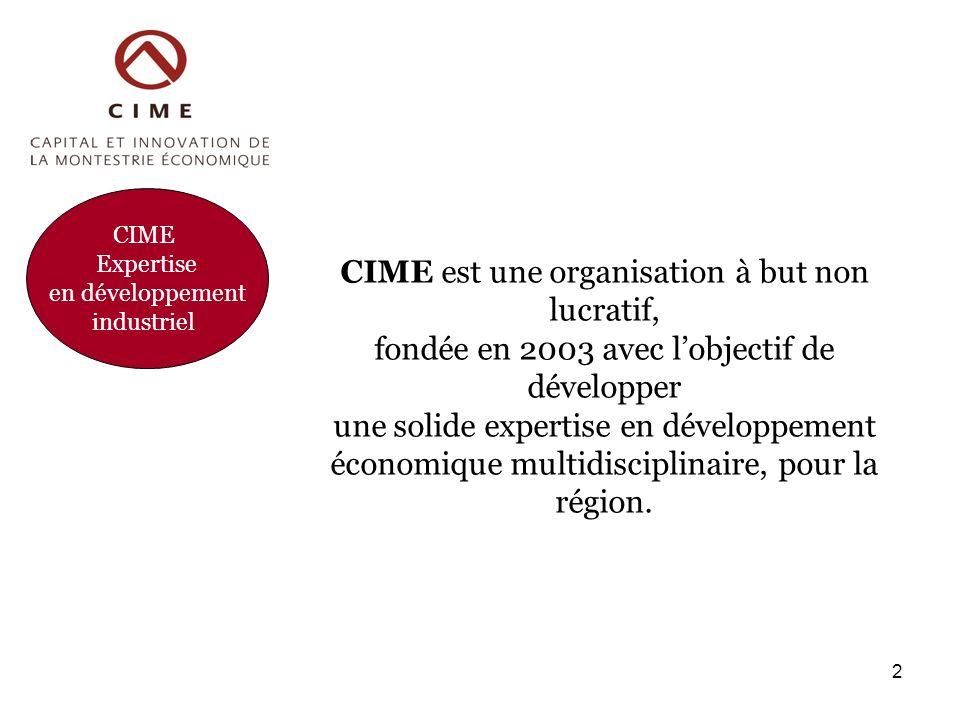 CIME Expertise en développement industriel CIME est une organisation à but non lucratif, fondée en 2003 avec lobjectif de développer une solide expertise en développement économique multidisciplinaire, pour la région.