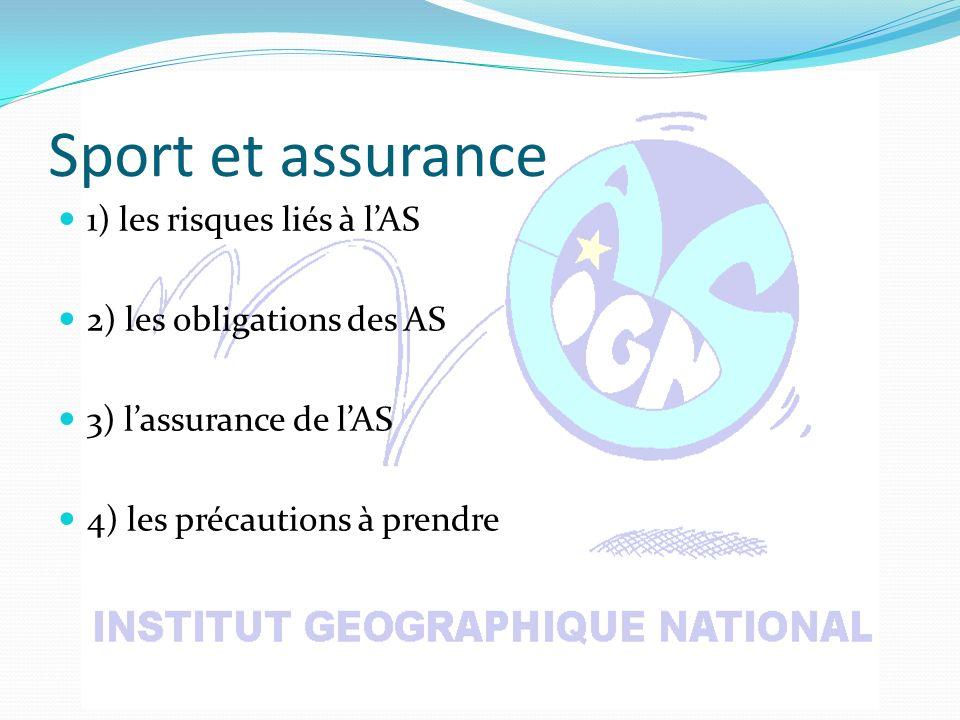 Sport et assurance 1) les risques liés à lAS 2) les obligations des AS 3) lassurance de lAS 4) les précautions à prendre