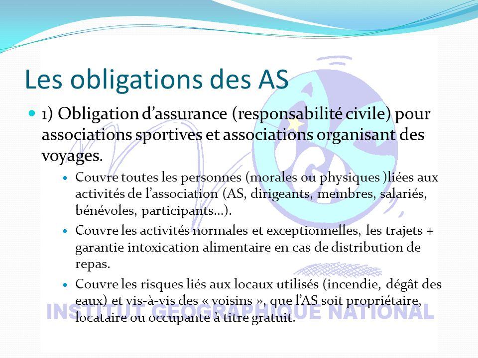 Les obligations des AS 1) Obligation dassurance (responsabilité civile) pour associations sportives et associations organisant des voyages.