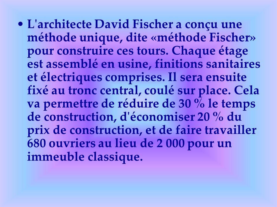 L'architecte David Fischer a conçu une méthode unique, dite «méthode Fischer» pour construire ces tours. Chaque étage est assemblé en usine, finitions