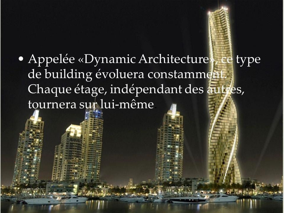 Appelée «Dynamic Architecture», ce type de building évoluera constamment. Chaque étage, indépendant des autres, tournera sur lui-même.