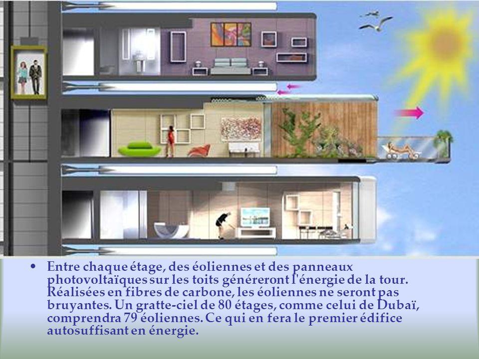 Entre chaque étage, des éoliennes et des panneaux photovoltaïques sur les toits généreront l'énergie de la tour. Réalisées en fibres de carbone, les é