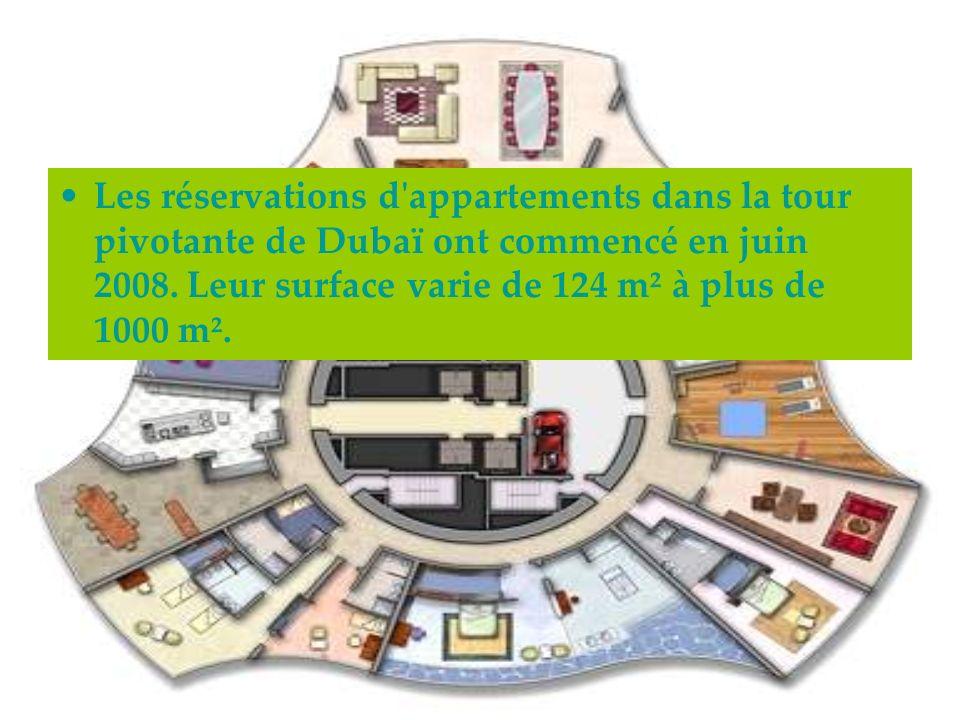 Les réservations d'appartements dans la tour pivotante de Dubaï ont commencé en juin 2008. Leur surface varie de 124 m² à plus de 1000 m².