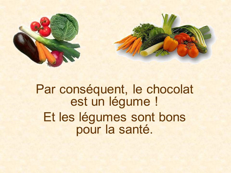 Par conséquent, le chocolat est un légume ! Et les légumes sont bons pour la santé.