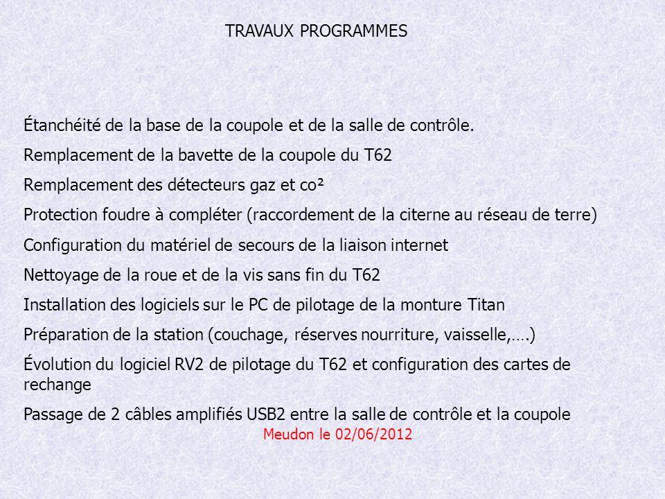 Meudon le 02/06/2012 Étanchéité de la base de la coupole et de la salle de contrôle.