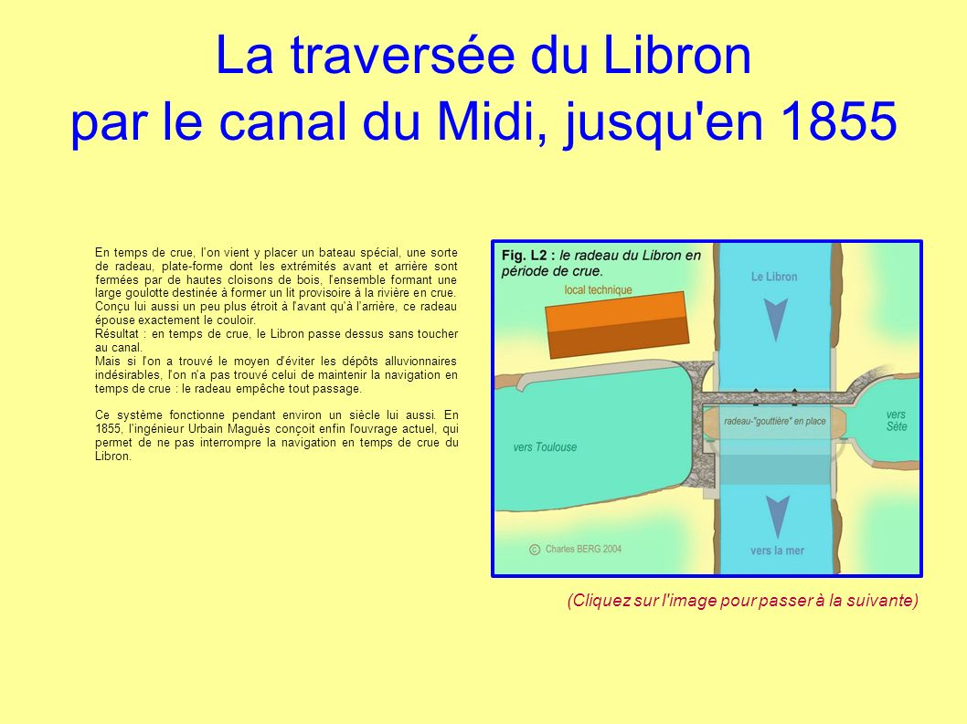 La traversée du Libron par le canal du Midi, jusqu'en 1855 En temps de crue, l'on vient y placer un bateau spécial, une sorte de radeau, plate-forme d