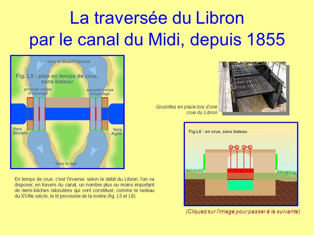 La traversée du Libron par le canal du Midi, depuis 1855 En temps de crue, c'est l'inverse: selon le débit du Libron, l'on va disposer, en travers du
