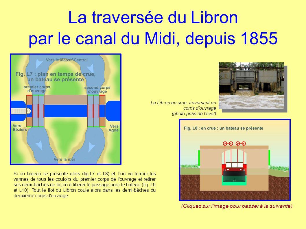La traversée du Libron par le canal du Midi, depuis 1855 Si un bateau se présente alors (fig.L7 et L8) et, l on va fermer les vannes de tous les couloirs du premier corps de l ouvrage et retirer ses demi-bâches de façon à libérer le passage pour le bateau (fig.