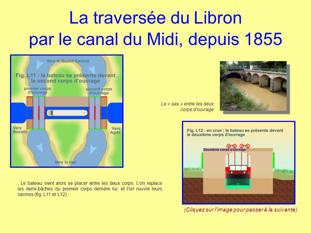 La traversée du Libron par le canal du Midi, depuis 1855 L on ferme les vannes des couloirs du deuxième corps, et l on en retire les goulottes de façon à libérer le passage au bateau, pendant que le Libron passe entièrement dans les bâches du premier corps (fig.