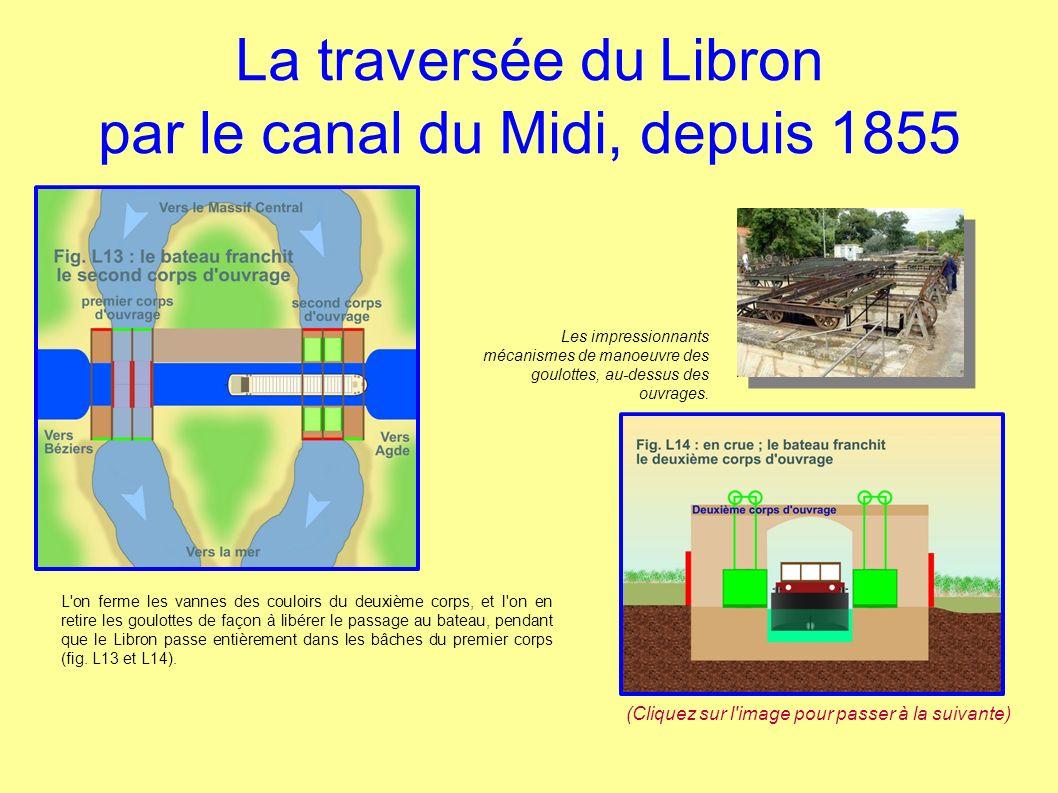La traversée du Libron par le canal du Midi, depuis 1855 L'on ferme les vannes des couloirs du deuxième corps, et l'on en retire les goulottes de faço