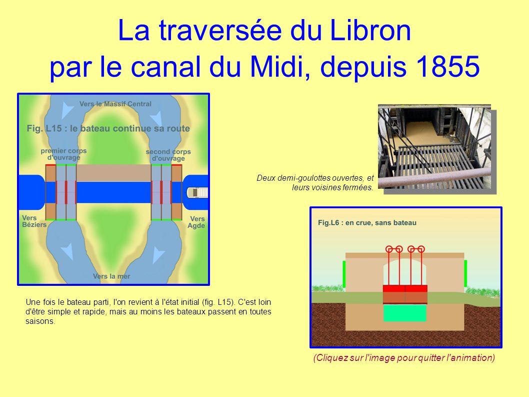 La traversée du Libron par le canal du Midi, depuis 1855 Une fois le bateau parti, l'on revient à l'état initial (fig. L15). C'est loin d'être simple