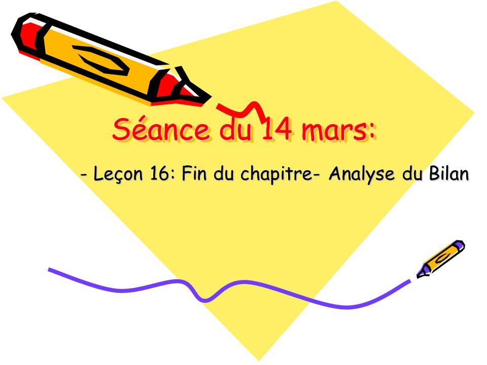Séance du 14 mars: - Leçon 16: Fin du chapitre- Analyse du Bilan