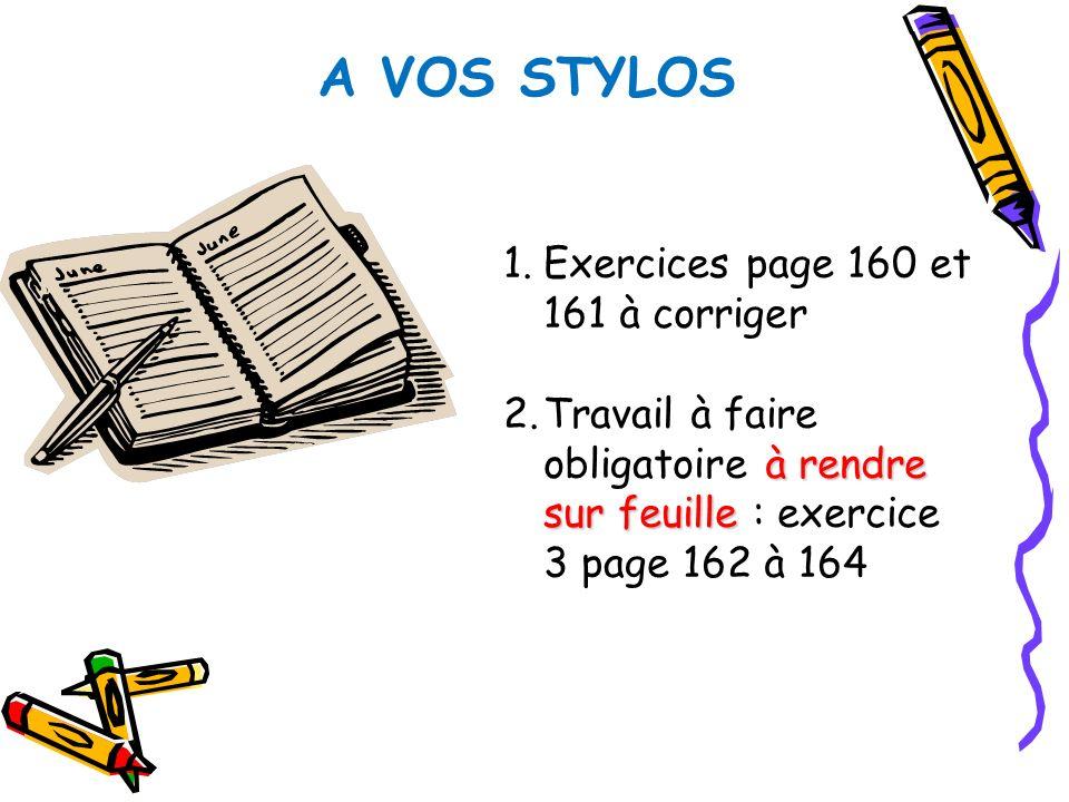 A VOS STYLOS 1.Exercices page 160 et 161 à corriger à rendre sur feuille 2.Travail à faire obligatoire à rendre sur feuille : exercice 3 page 162 à 16