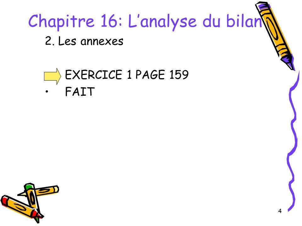 4 Chapitre 16: Lanalyse du bilan 2. Les annexes EXERCICE 1 PAGE 159 FAIT