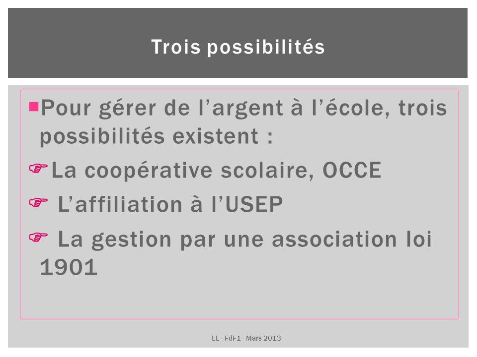 Pour gérer de largent à lécole, trois possibilités existent : La coopérative scolaire, OCCE Laffiliation à lUSEP La gestion par une association loi 1901 Trois possibilités LL - FdF1 - Mars 2013