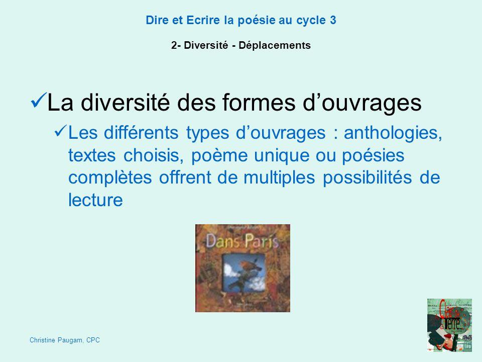 Christine Paugam, CPC Dire et Ecrire la poésie au cycle 3 2- Diversité - Déplacements La diversité des formes douvrages Les différents types douvrages