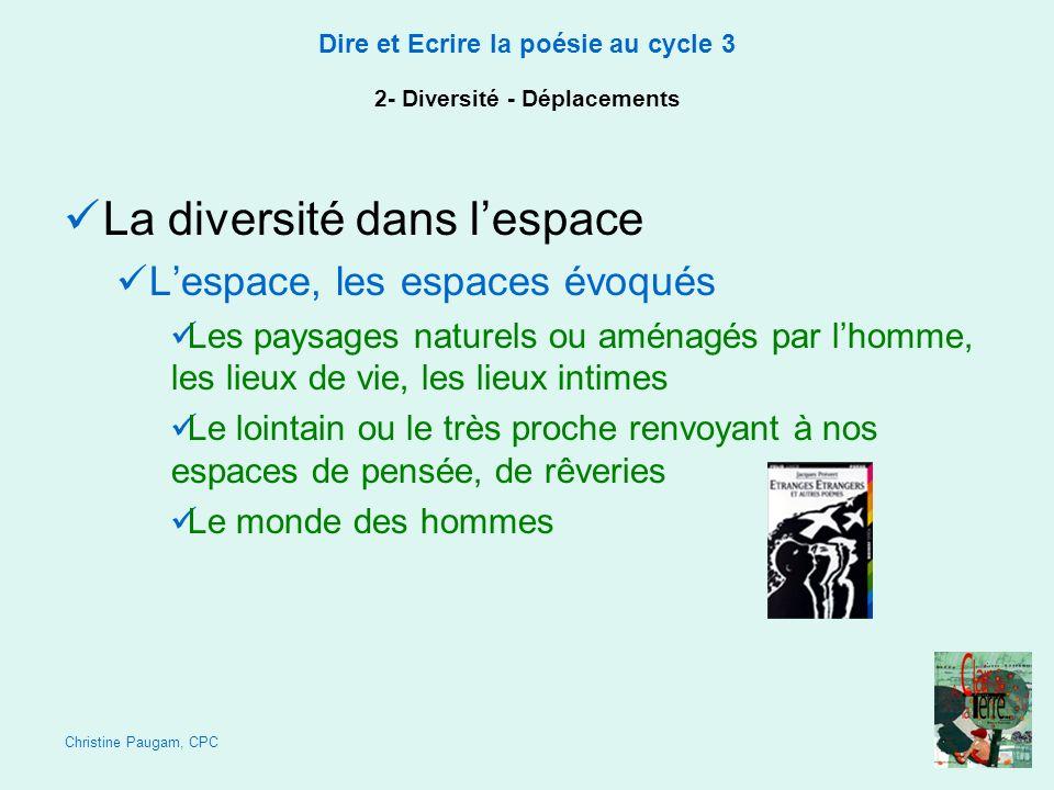 Christine Paugam, CPC Dire et Ecrire la poésie au cycle 3 2- Diversité - Déplacements La diversité dans lespace Lespace, les espaces évoqués Les paysa