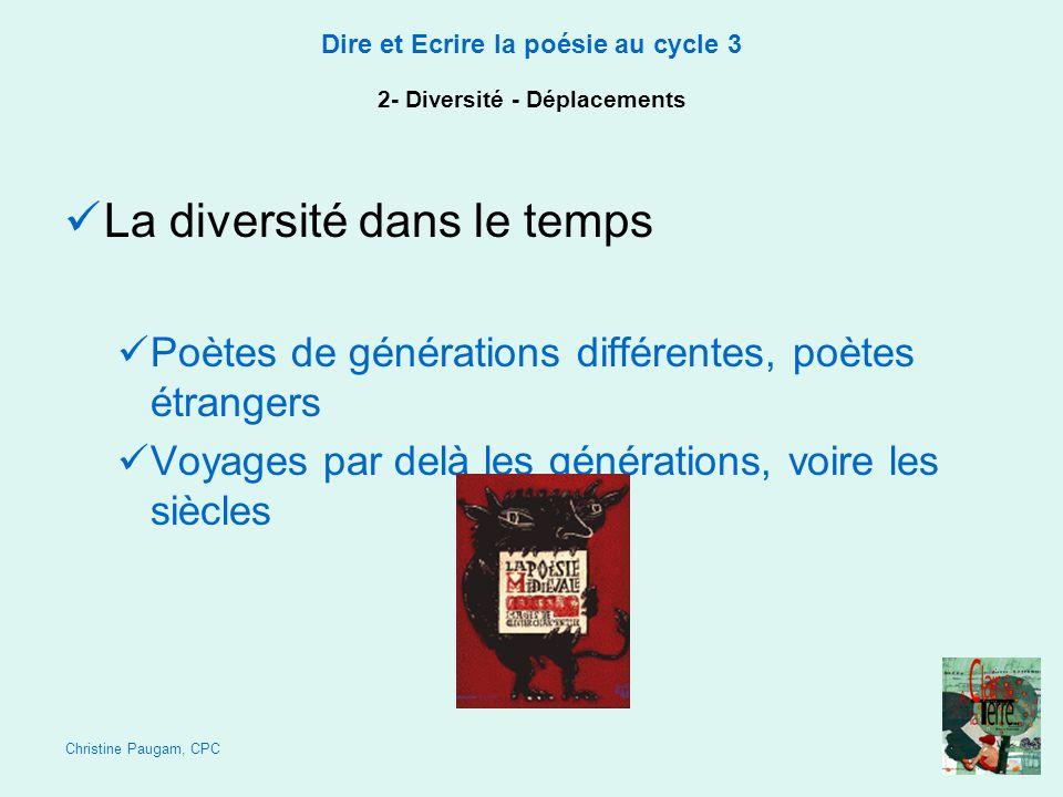 Christine Paugam, CPC Dire et Ecrire la poésie au cycle 3 2- Diversité - Déplacements La diversité dans le temps Poètes de générations différentes, po