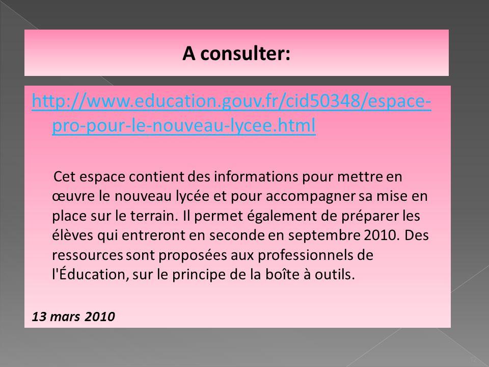 A consulter: http://www.education.gouv.fr/cid50348/espace- pro-pour-le-nouveau-lycee.html Cet espace contient des informations pour mettre en œuvre le