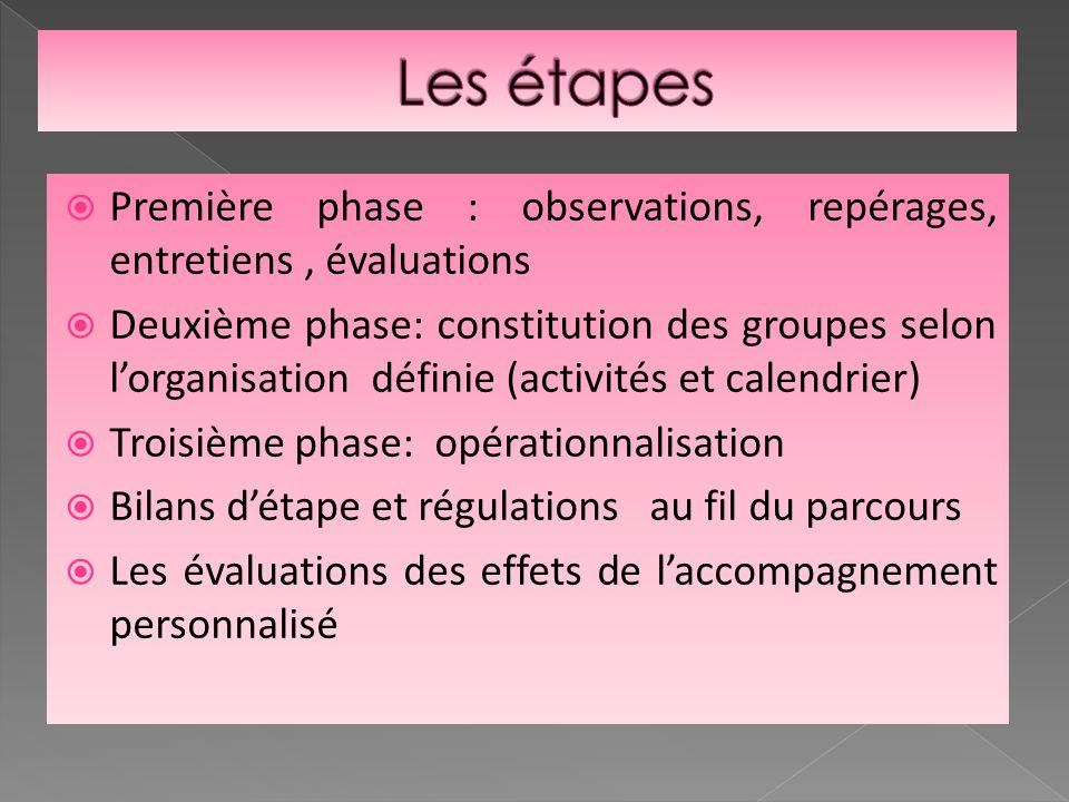 Première phase : observations, repérages, entretiens, évaluations Deuxième phase: constitution des groupes selon lorganisation définie (activités et c