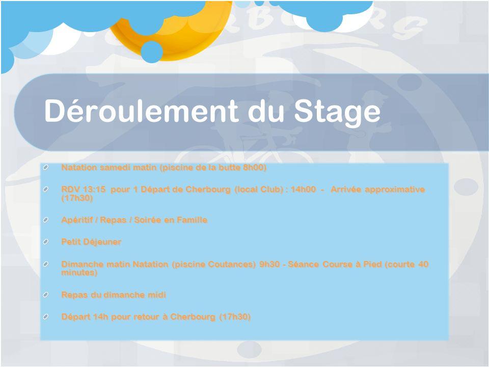 Déroulement du Stage Natation samedi matin (piscine de la butte 8h00) RDV 13:15 pour 1 Départ de Cherbourg (local Club) : 14h00 - Arrivée approximative (17h30) Apéritif / Repas / Soirée en Famille Petit Déjeuner Dimanche matin Natation (piscine Coutances) 9h30 - Séance Course à Pied (courte 40 minutes) Repas du dimanche midi Départ 14h pour retour à Cherbourg (17h30)