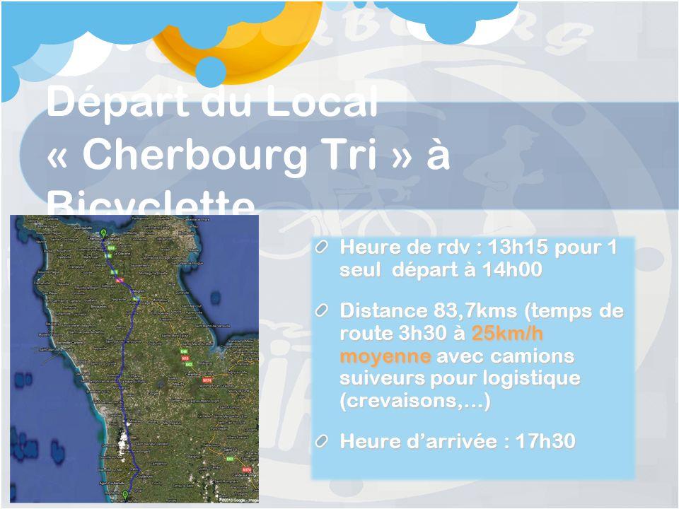 Départ du Local « Cherbourg Tri » à Bicyclette Heure de rdv : 13h15 pour 1 seul départ à 14h00 Distance 83,7kms (temps de route 3h30 à 25km/h moyenne avec camions suiveurs pour logistique (crevaisons,…) Heure darrivée : 17h30