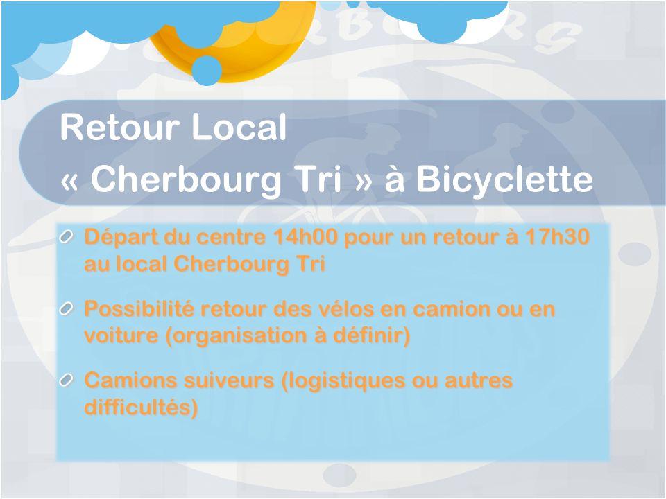 Retour Local « Cherbourg Tri » à Bicyclette Départ du centre 14h00 pour un retour à 17h30 au local Cherbourg Tri Possibilité retour des vélos en camion ou en voiture (organisation à définir) Camions suiveurs (logistiques ou autres difficultés)