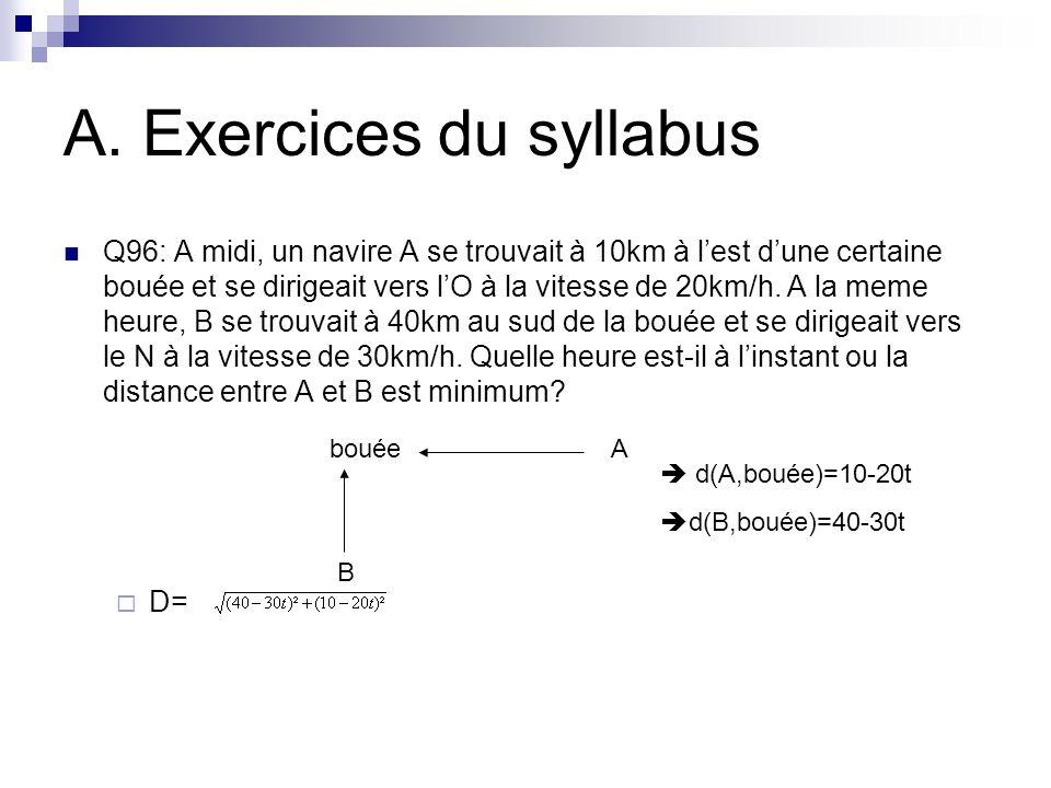 A. Exercices du syllabus Q96: A midi, un navire A se trouvait à 10km à lest dune certaine bouée et se dirigeait vers lO à la vitesse de 20km/h. A la m