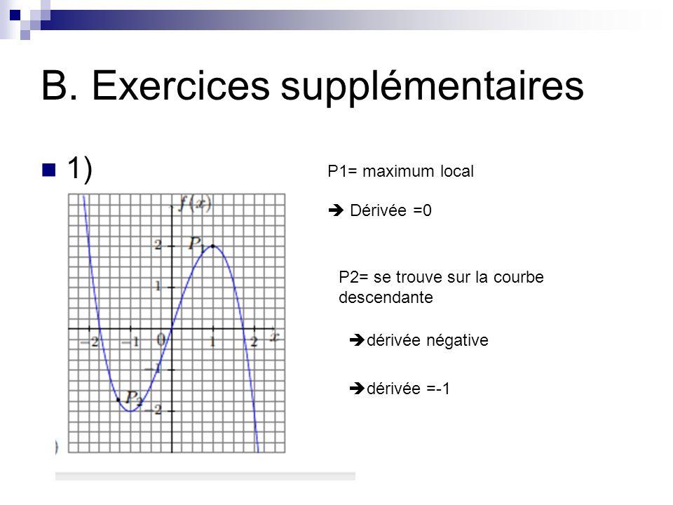 B. Exercices supplémentaires 1) P1= maximum local Dérivée =0 P2= se trouve sur la courbe descendante dérivée négative dérivée =-1