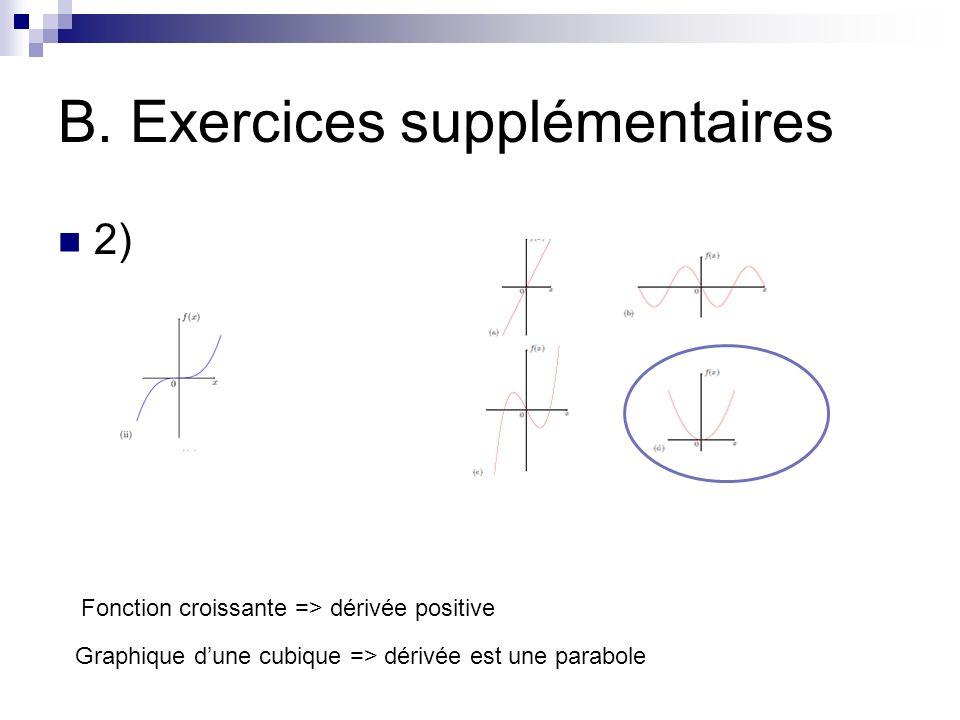 B. Exercices supplémentaires 2) Fonction croissante => dérivée positive Graphique dune cubique => dérivée est une parabole