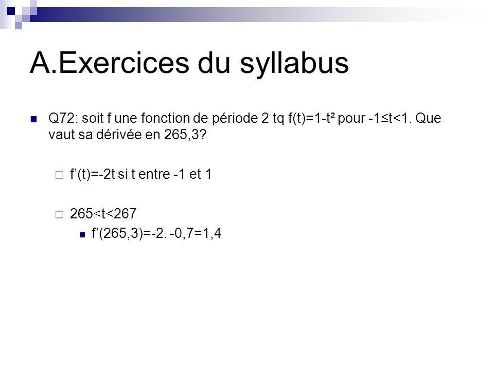 A.Exercices du syllabus Q72: soit f une fonction de période 2 tq f(t)=1-t² pour -1t<1. Que vaut sa dérivée en 265,3? f(t)=-2t si t entre -1 et 1 265<t