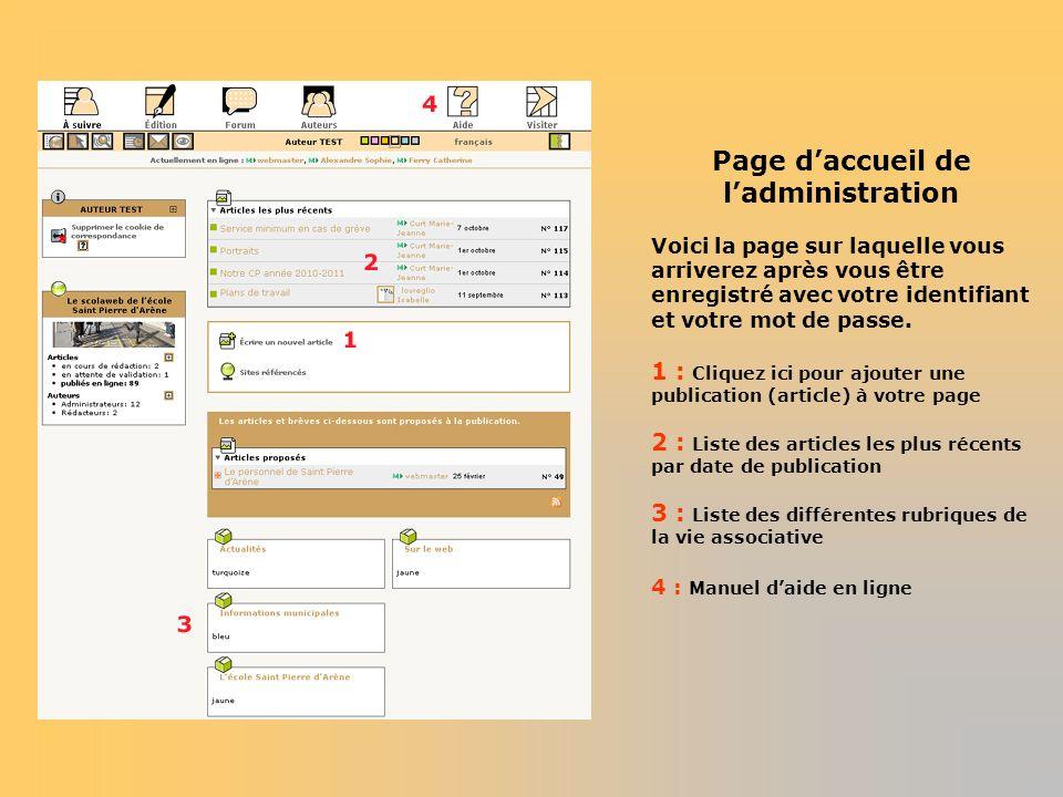 Page daccueil de ladministration Voici la page sur laquelle vous arriverez après vous être enregistré avec votre identifiant et votre mot de passe. 1