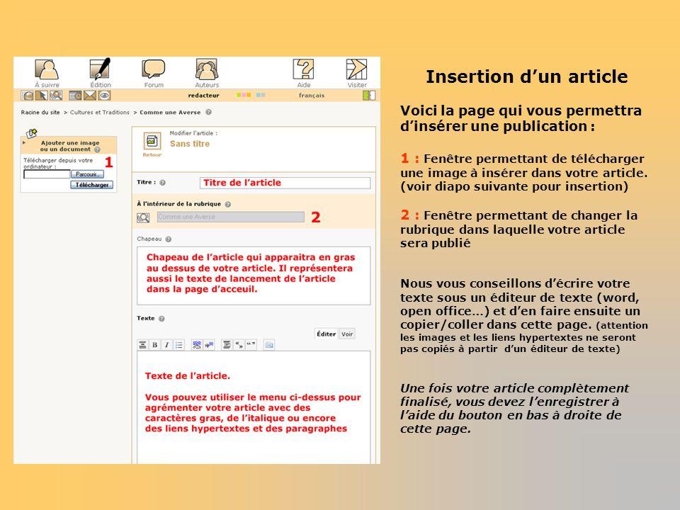 Insertion dun article Voici la page qui vous permettra dinsérer une publication : 1 : Fenêtre permettant de télécharger une image à insérer dans votre