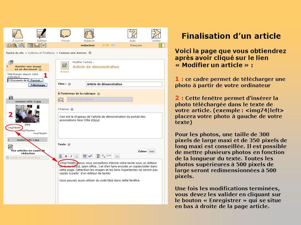 Finalisation dun article Voici la page que vous obtiendrez après avoir cliqué sur le lien « Modifier un article » : 1 : ce cadre permet de télécharger