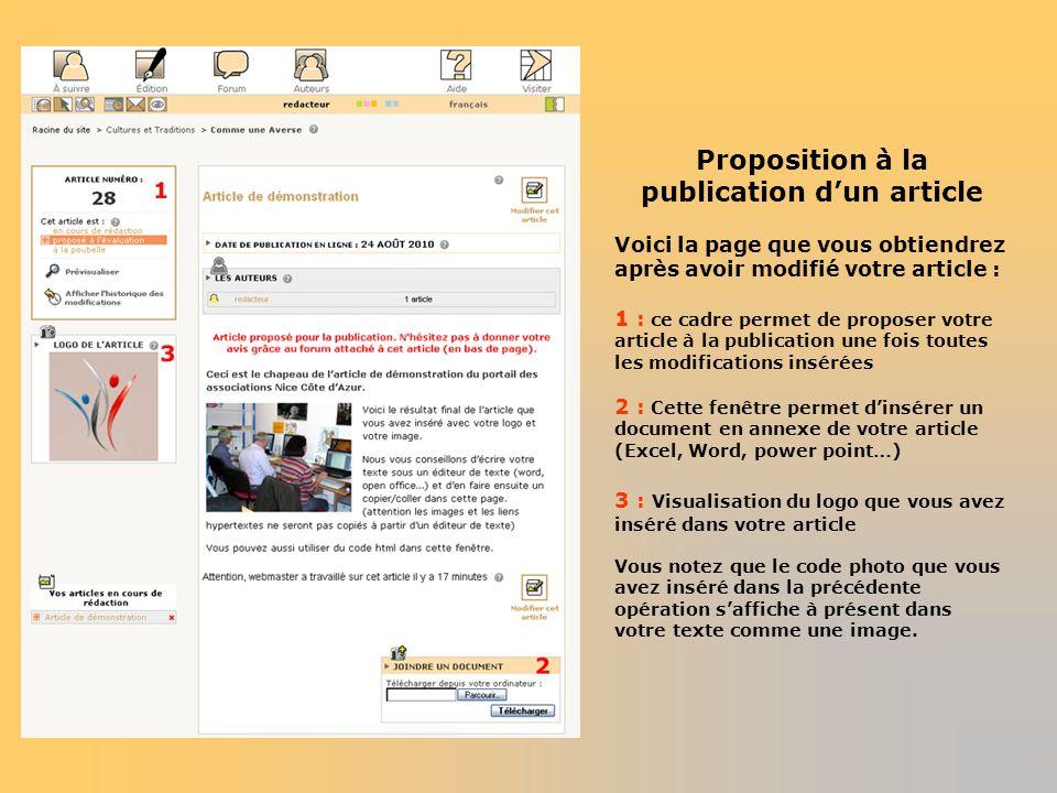 Proposition à la publication dun article Voici la page que vous obtiendrez après avoir modifié votre article : 1 : ce cadre permet de proposer votre a