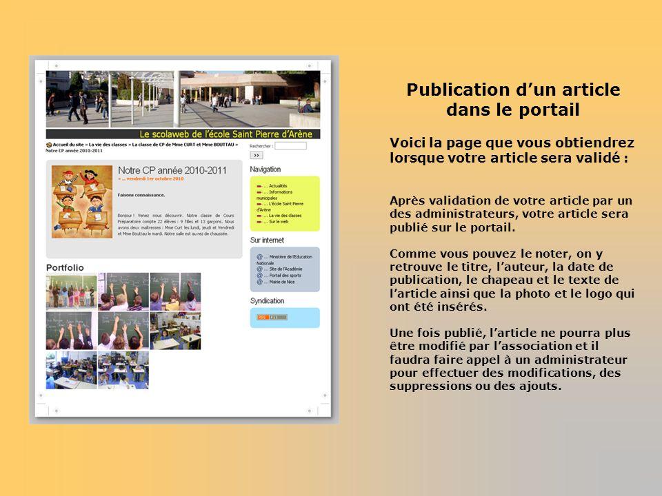 Publication dun article dans le portail Voici la page que vous obtiendrez lorsque votre article sera validé : Après validation de votre article par un